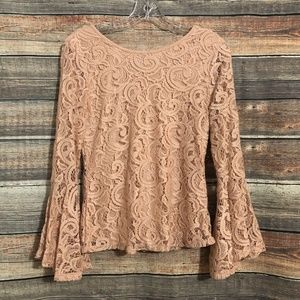 Adrianna Papell Size Small Nude Pink Lace Scoop Back Long Bell Sleeve Top